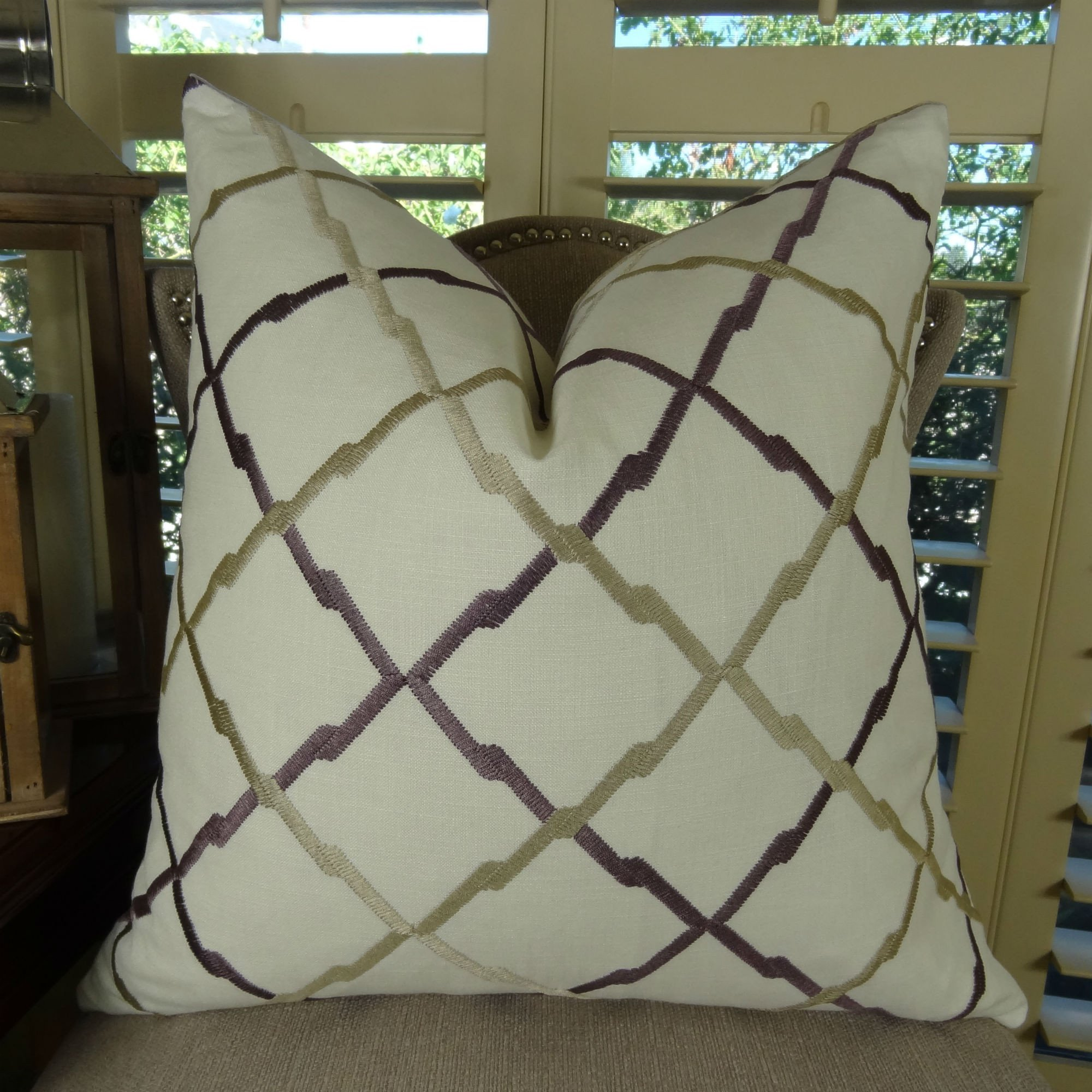 Thomas Collection Geometric Throw Pillow, White Tan Purple Diamond Decorative Throw Pillow, Modern Moroccan Pillow, Embroidered Linen Pillow, INCLUDES POLYFILL INSERT, Made in USA, 11180