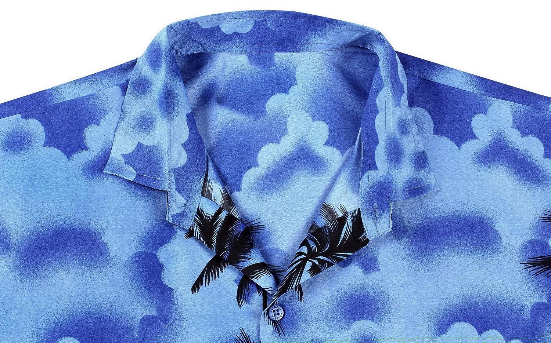 LA LEELA Mens Relaxed Short Sleeve Button Down Casual Hawaiian Shirt Printed D