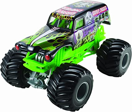Amazon Com Hot Wheels Monster Jam Grave Digger Die Cast Vehicle 1 24 Scale Black And Green Toys Games