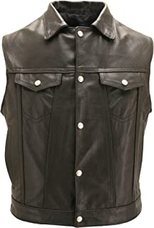 product image for Men's Black Leather Motorcycle Vest with Snap Down Collar & Gun Pockets- Made in USA