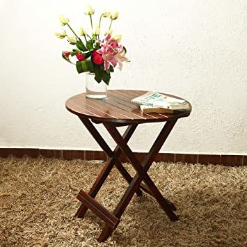 Home Stratosphere Solid Wood Round Folding Portable Table Suitable