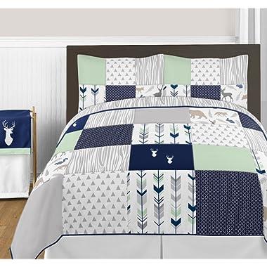 Sweet Jojo Designs 3-Piece Navy Blue, Mint and Grey Woodsy Deer Girls Full/Queen Bedding Set