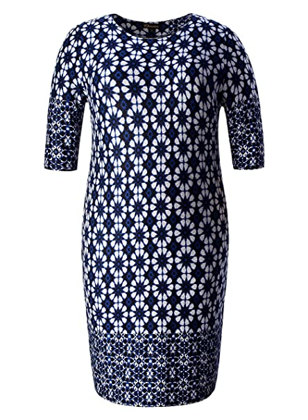 519a39701df Chicwe Women s Plus Size Stretch Designed Floral Border Shift Cashmere  Touch Dress - Casual Dress Blue