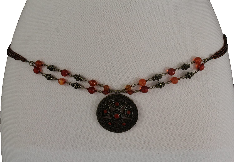 TFJ Women Brown Beads Tie Fashion Bohemian Belt Hip Waist Antique Gold Charm S M L