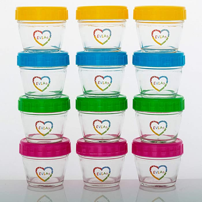 Baby Food Storage Containers - Set of 12, 4 oz Glass Jars with Lids - BPA-Free, Non-Toxic, and Freezer-Safe Glass Baby Bottles for Storing Food or Breastmilk Formula