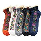Fitu Women's Vintage Ruffle Frilly Cute Rayon Bamboo Boot Socks 5 Pairs Pack