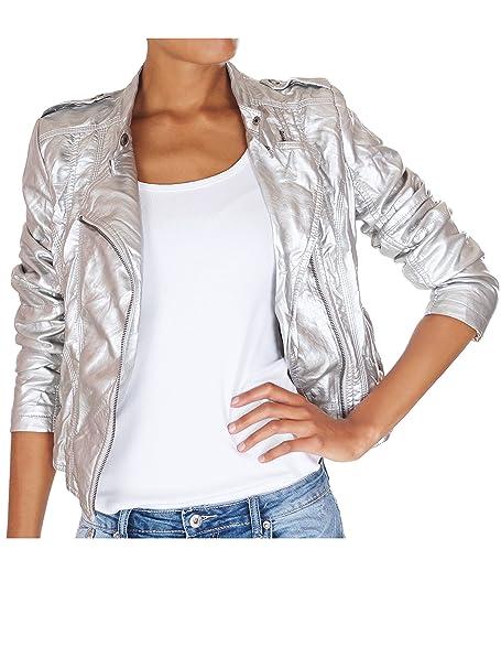 62nd Avenue - Chaqueta - para mujer plata metalica 46: Amazon.es: Ropa y accesorios