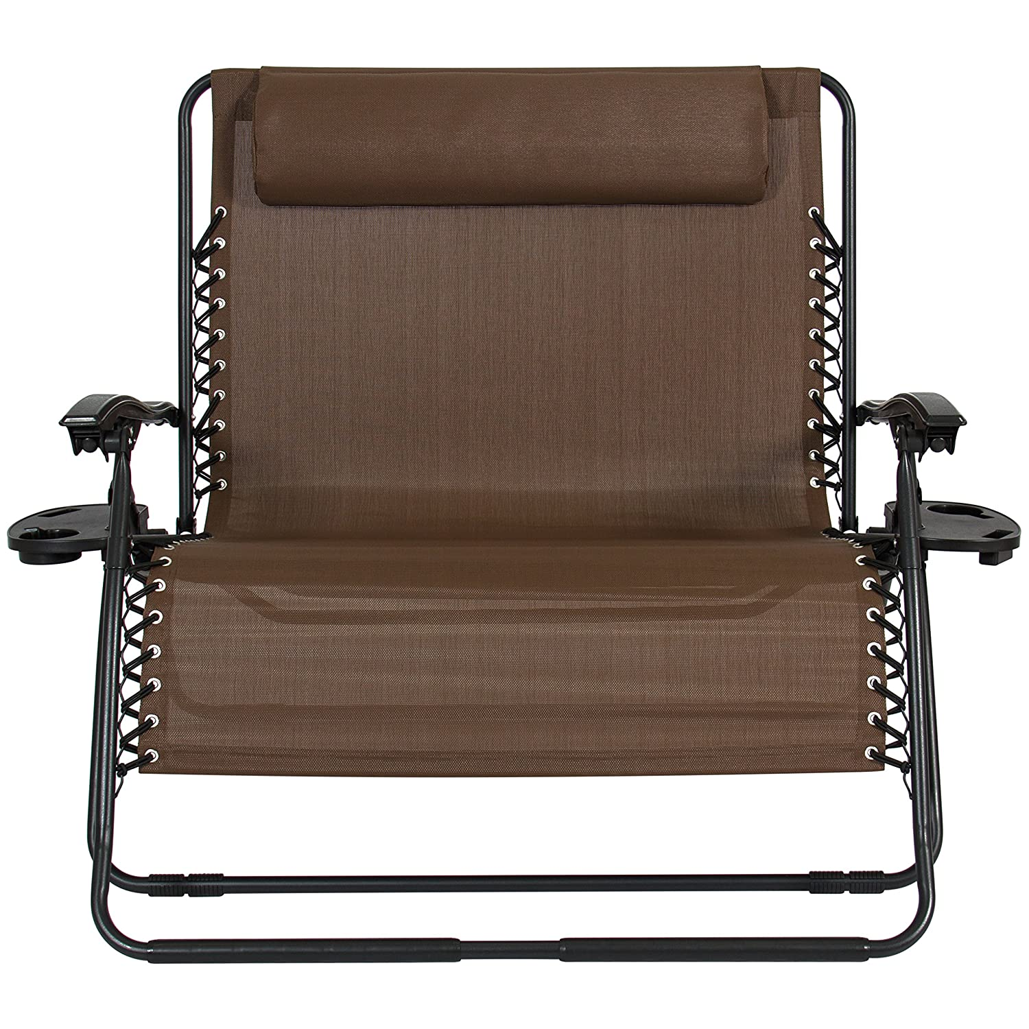 Best Choice Products 2-Person Double Wide Folding Zero Gravity Chair Patio Lounger w Cup Holders – Brown