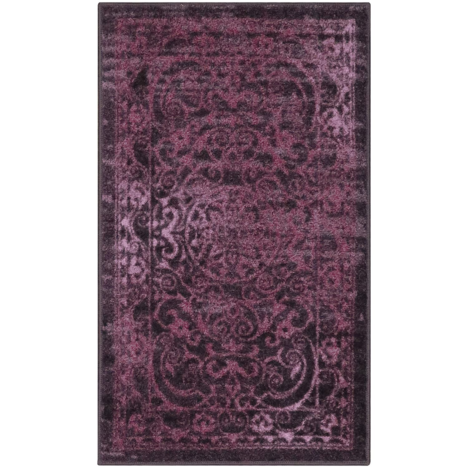 Maples Rugs Kitchen Rug - Pelham 2'6 x 3'10 Non Skid Small Accent Throw Rugs [Made in USA] for Entryway and Bedroom, Wineberry Red