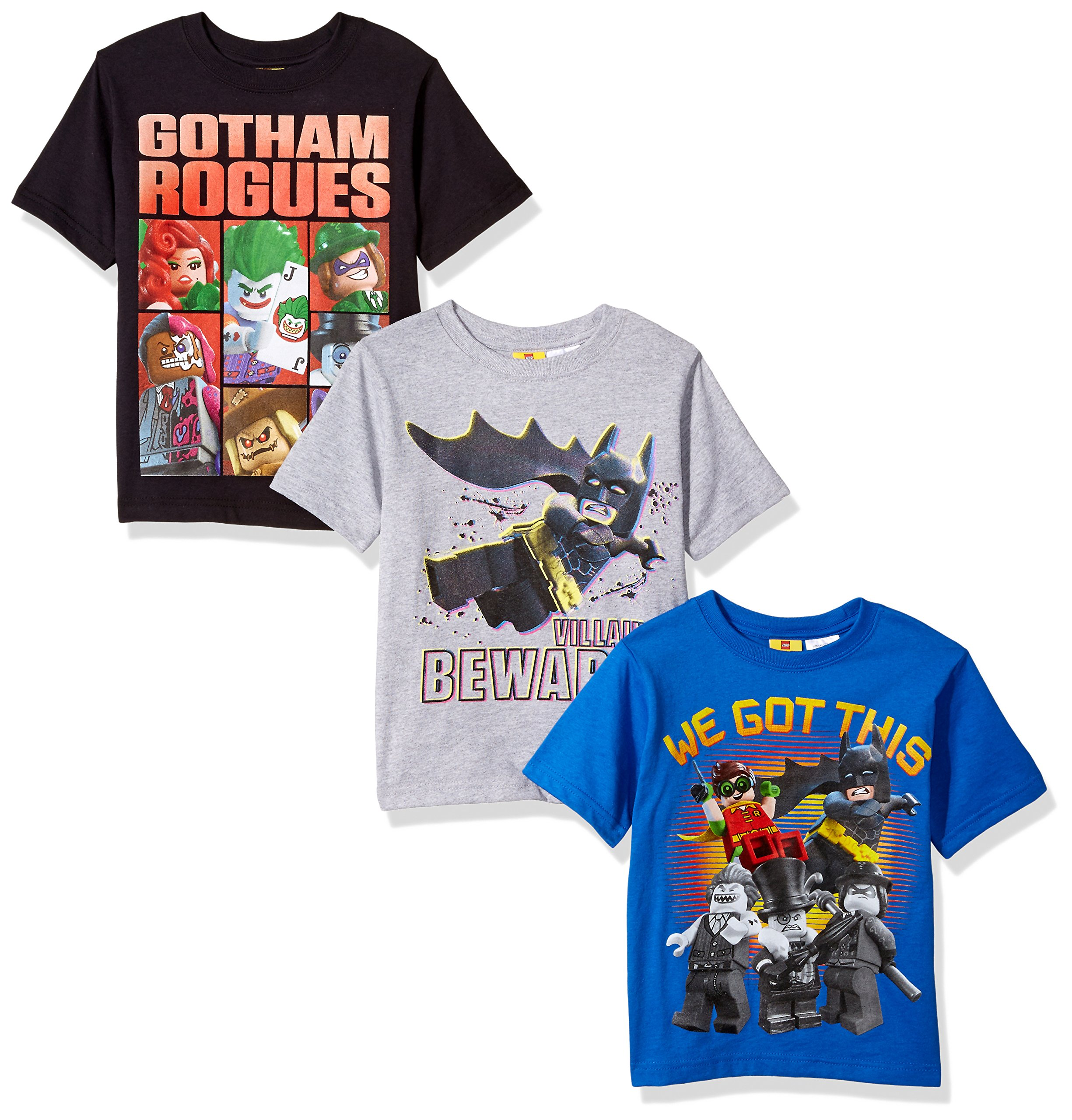 DC Comics Boys' Big Batman Lego 3 Pack Tee's, Grey, Blue, Black, 10/12