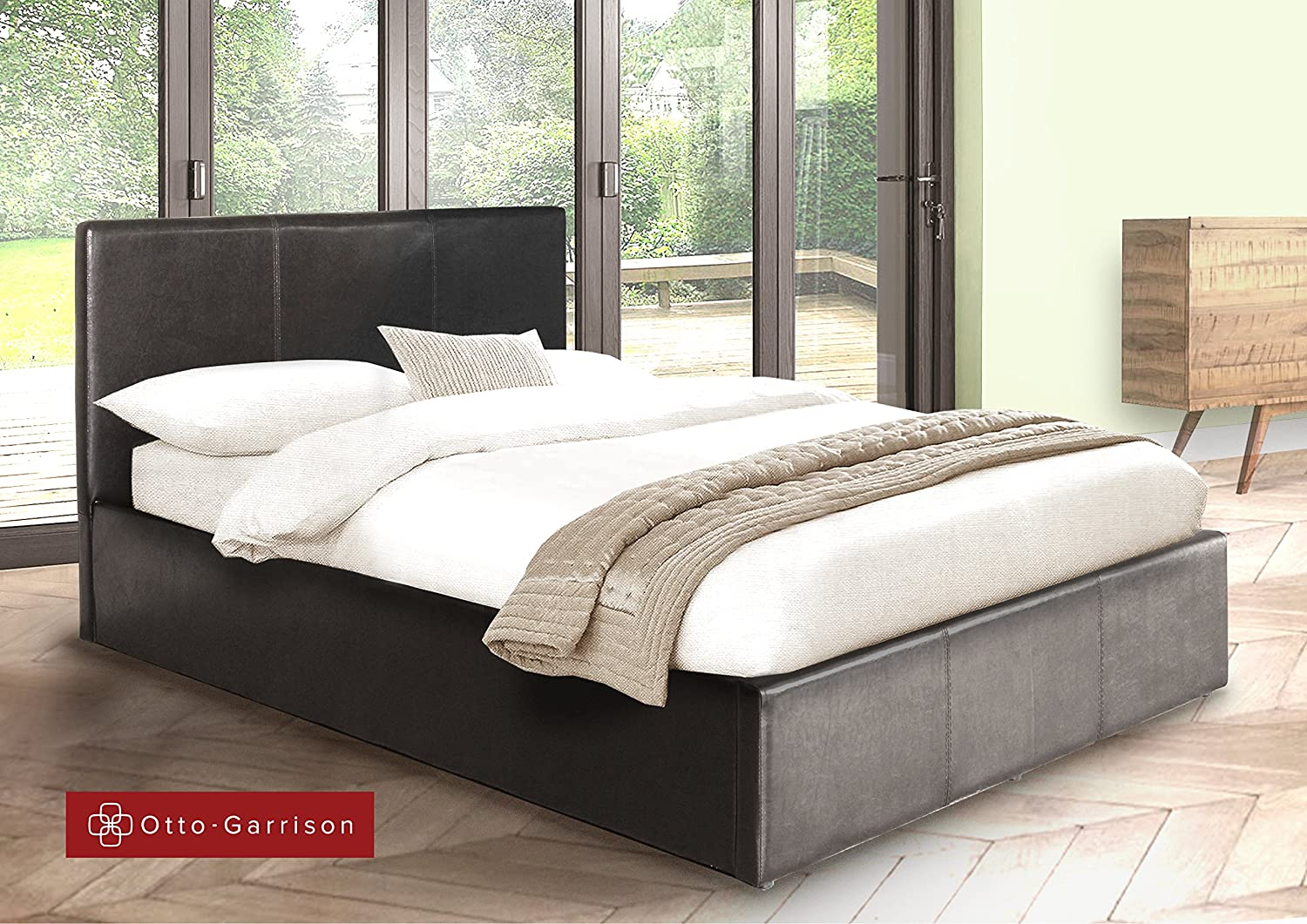 Ottoman Double Storage Bed Upholstered in Faux Leather, 4ft 6, Black:  Amazon.co.uk: Kitchen & Home