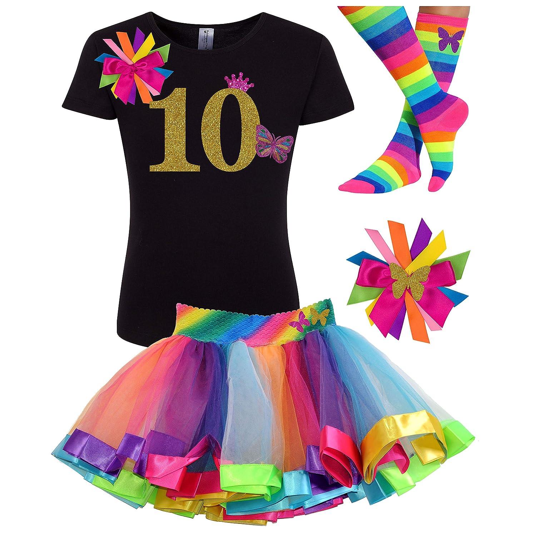 Bubblegum Divas Girls 10th Birthday Butterfly Shirt Rainbow Tutu Personalized 10