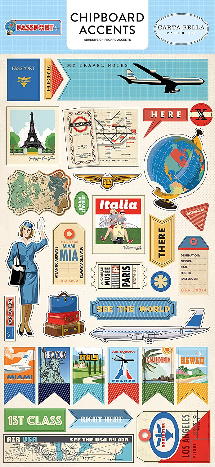 Blue Sky Blue Carta Bella Paper Company CBPAS84021 Passport 6x12 Chipboard Accents Yellow Forest Green Red