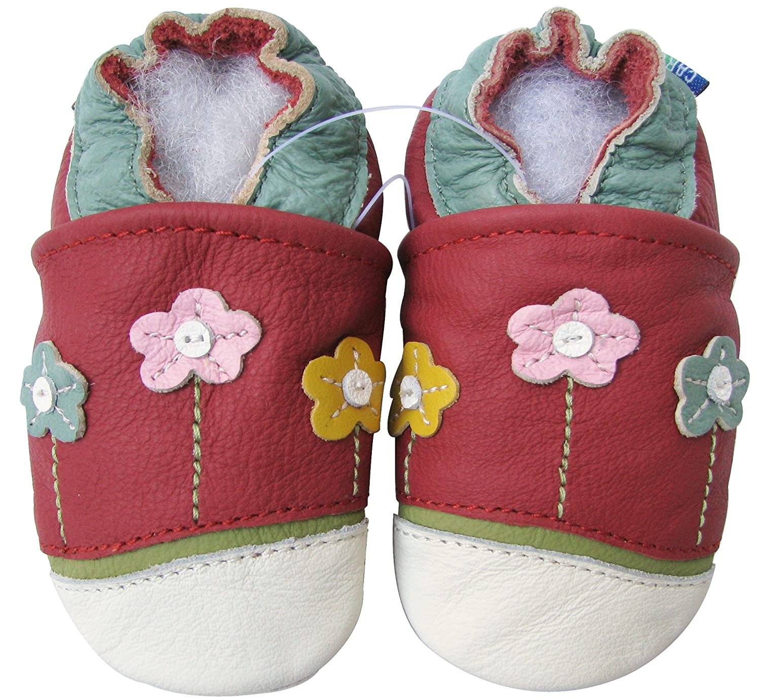 Carozoo Unisex Soft Sole Leather Baby Shoes Infant Toddler Kids Slippers Little Flower Red 3-4y