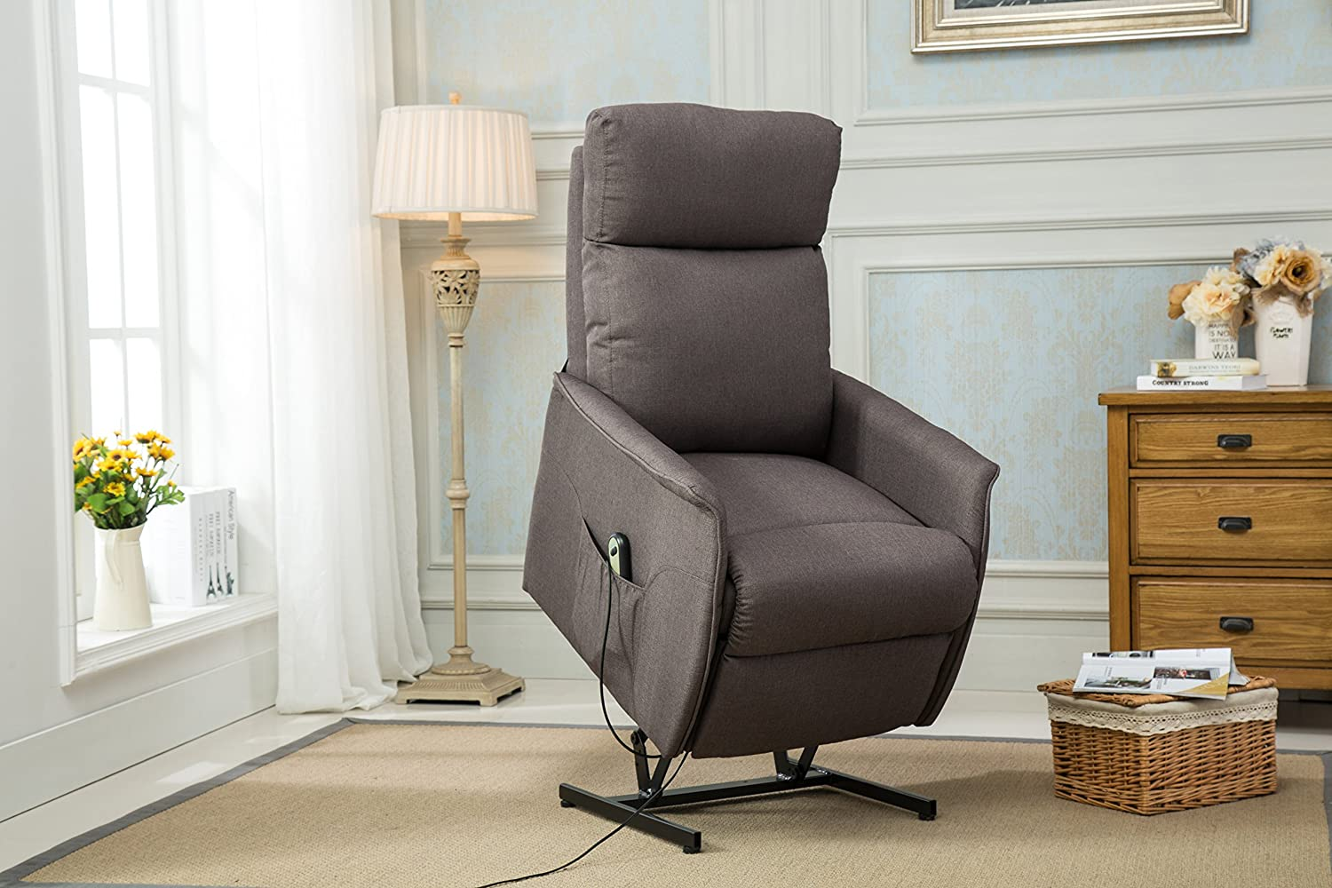 Amazon.com: Classic Power Lift Recliner Living Room Chair (Grey ...
