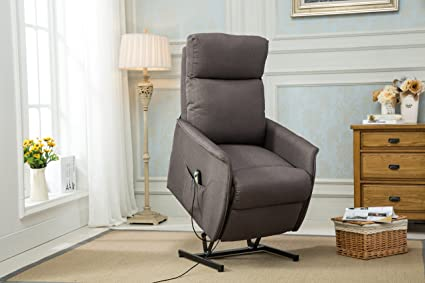 Divano Roma Furniture Classic Power Lift Recliner Living Room Chair (Grey)