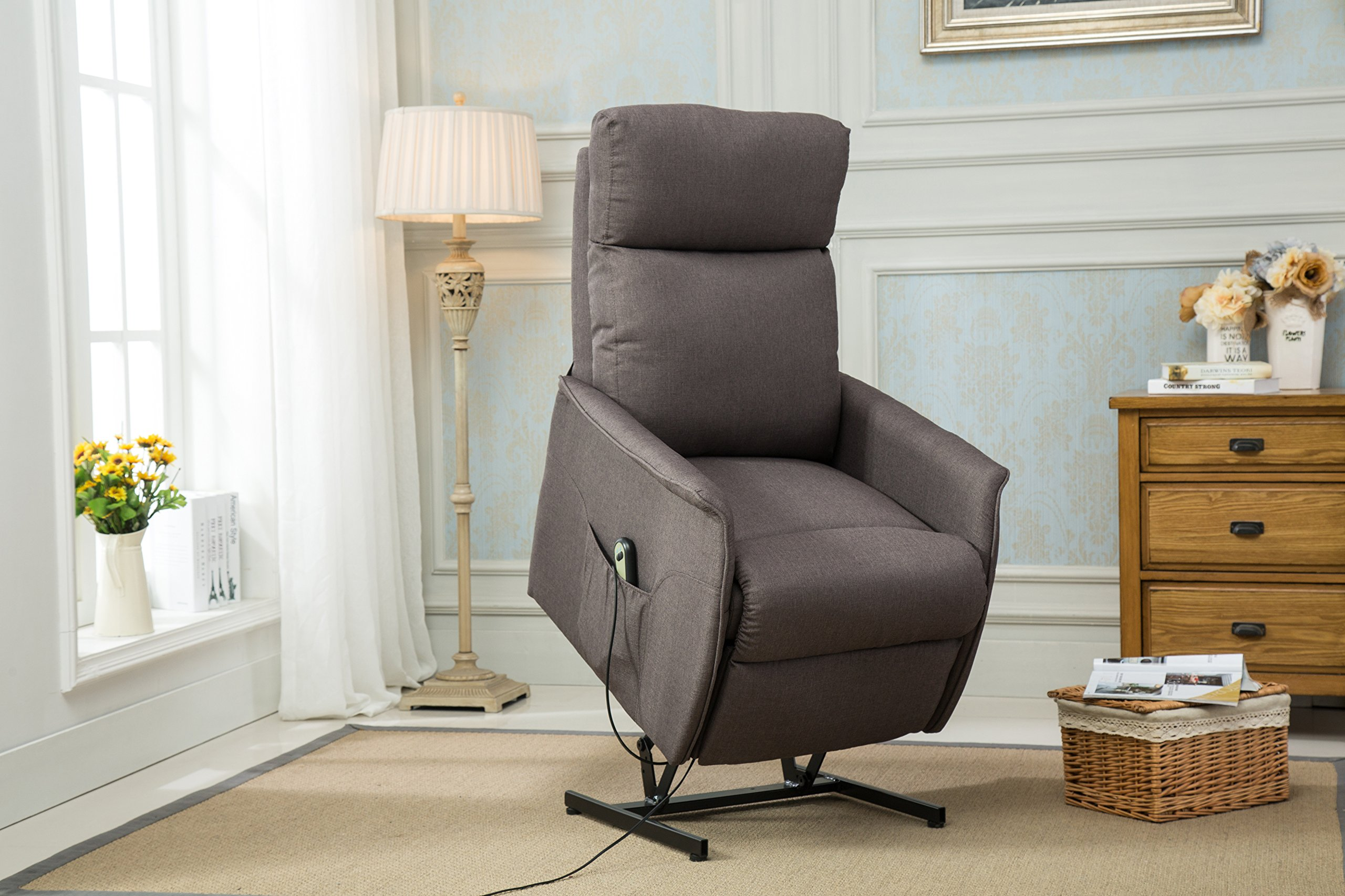 Classic Power Lift Recliner Living Room Chair (Grey)