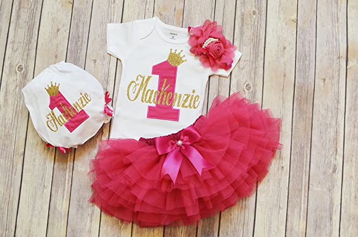 Personalized First Birthday Outfit GirlHot Pink Gold 1st TutuPrincess OutfitCake Girlone Year Old Girl Tutu