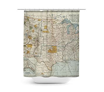 Amazon Antique United States Map Shower Curtain
