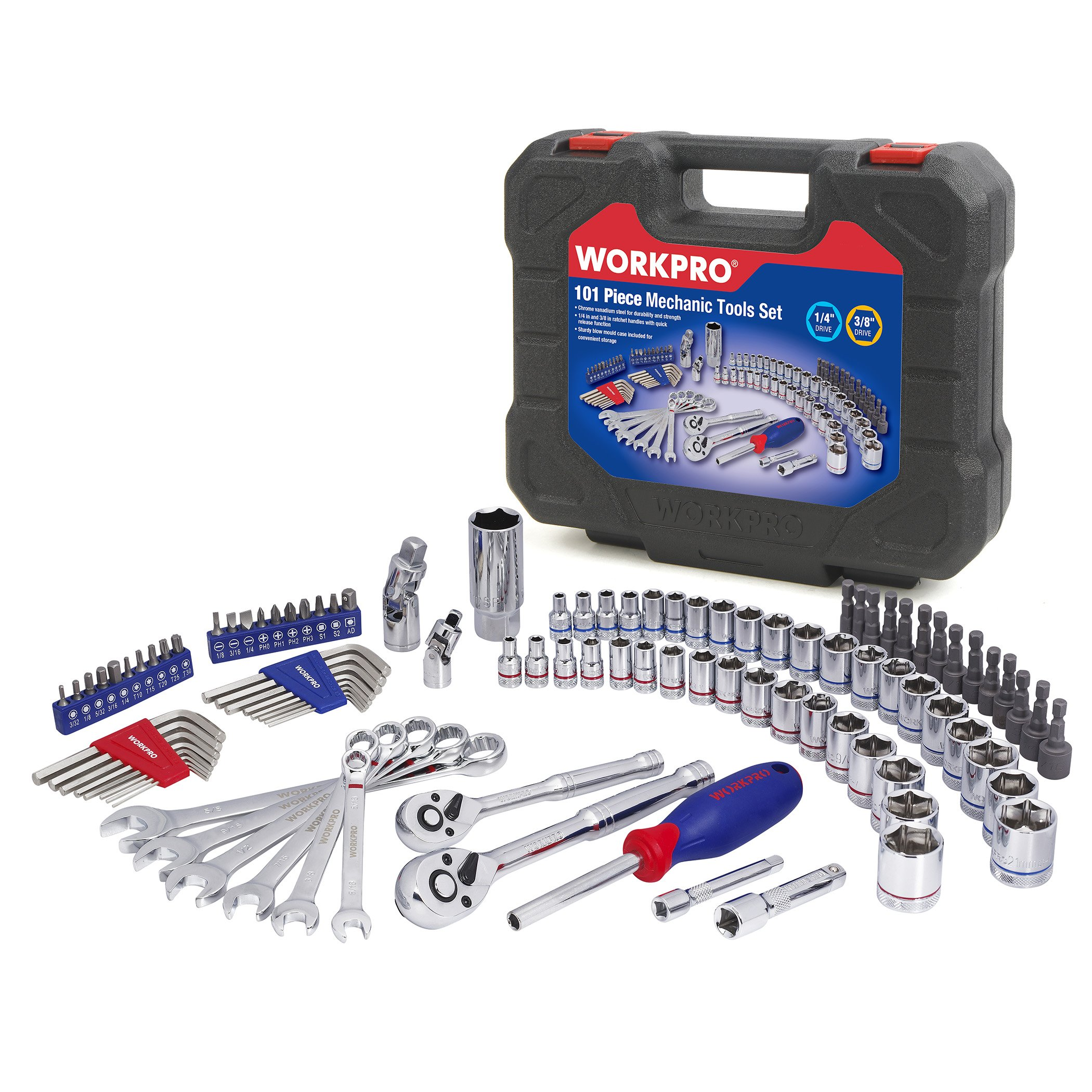 WORKPRO Drive Socket Wrench Set, 101-piece Mechanics Tools Kit 3/8-inch and 1/4-inch Quick-Release Ratchets, 6-Point SAE and Metric Sockets, with Blow Molded Case by WORKPRO