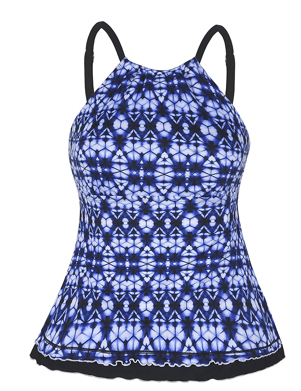Firpearl Women's Swimsuit High Neck Ruffle Hem Tankini Swimwear Top