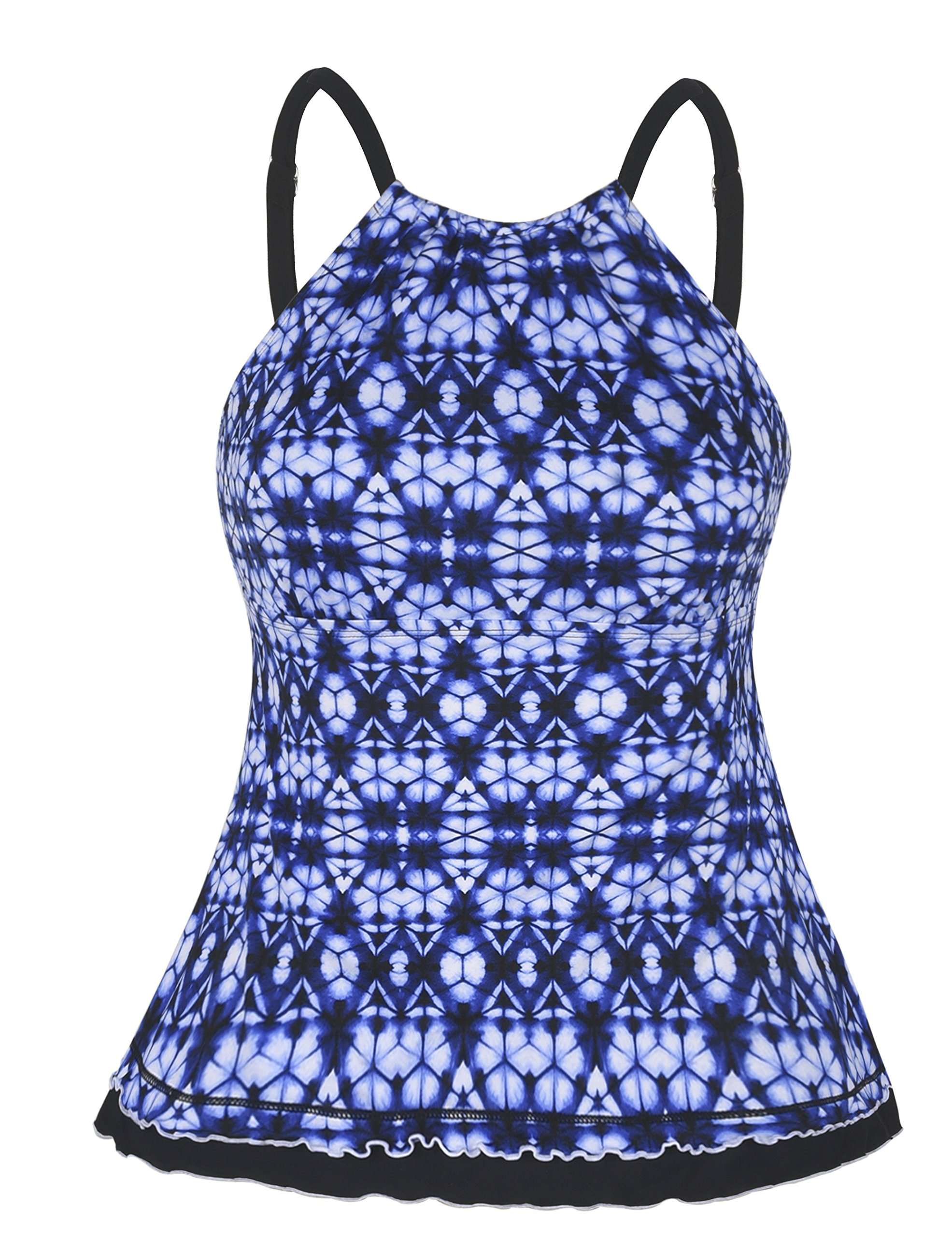 Firpearl Women's Swimsuit High Neck Retro Ruffle Hem Tankini Top Swimwear Blue&White Floral 14