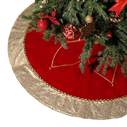 valery madelyn 48 luxury red and gold christmas tree skirt with flower designthemed
