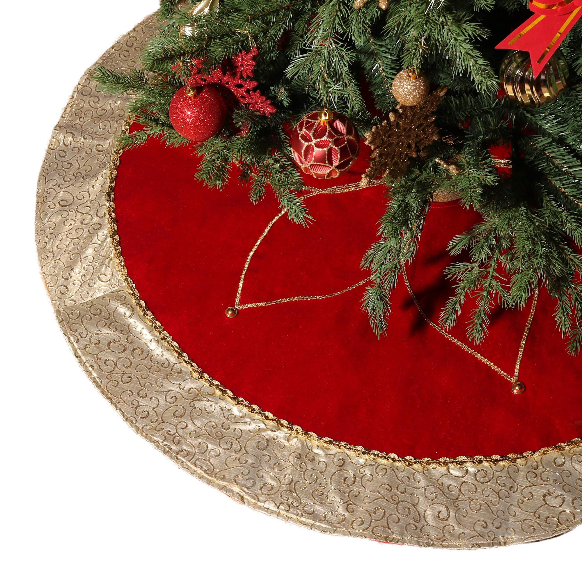 Red And Gold Christmas Trees: Valery Madelyn 48 Inch Luxury Red Gold Christmas Tree