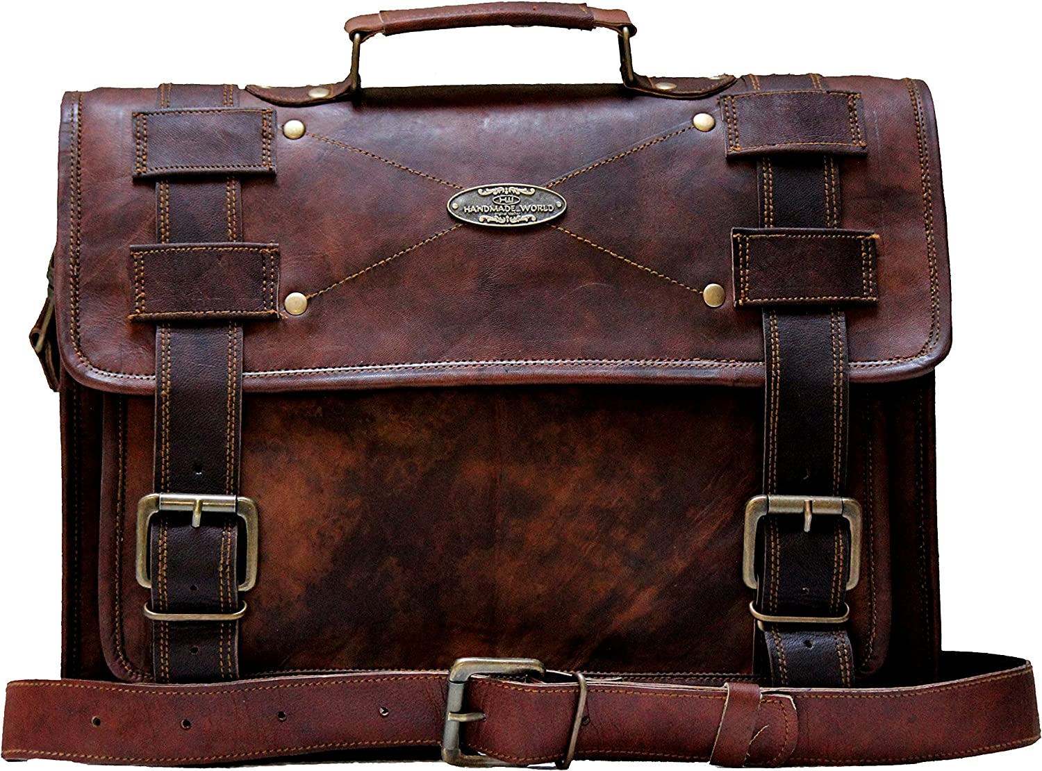 "Handmade World Laptop Bag Vintage Men Brown Leather Briefcase Messenger Bags (13"" X 18"")"