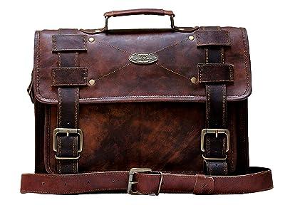 Handmade World Laptop Bag Vintage Men Brown Leather Briefcase Messenger Bags