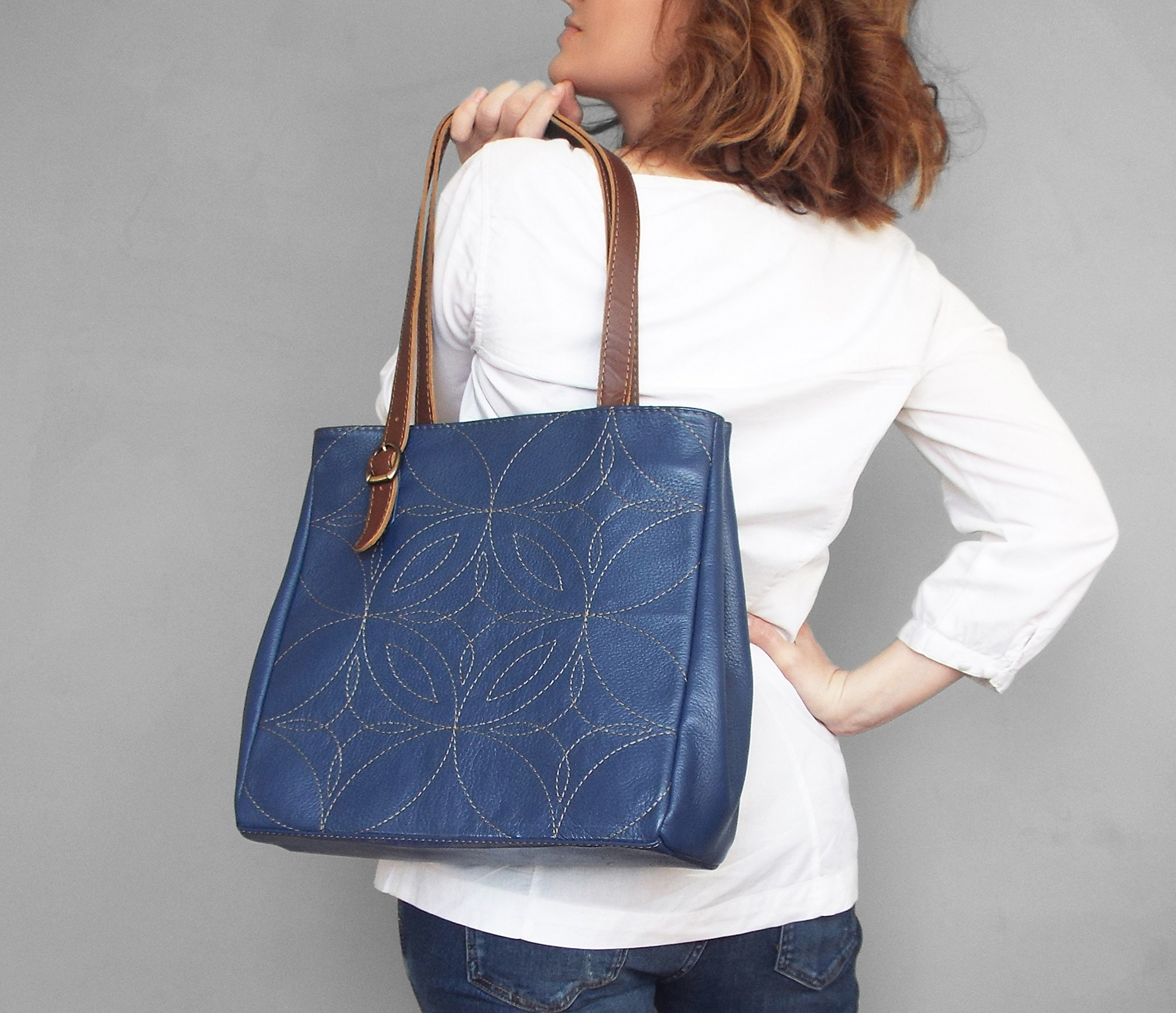 Leather tote bag. Blue leather tote. Tote bag leather. Embroidered leather handbag. Leather shoulder bag.