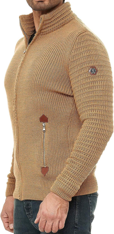 Redbridge C/árdigan de Punto para Hombre Pul/óver Jersey con Cremallera y Cuello Alto