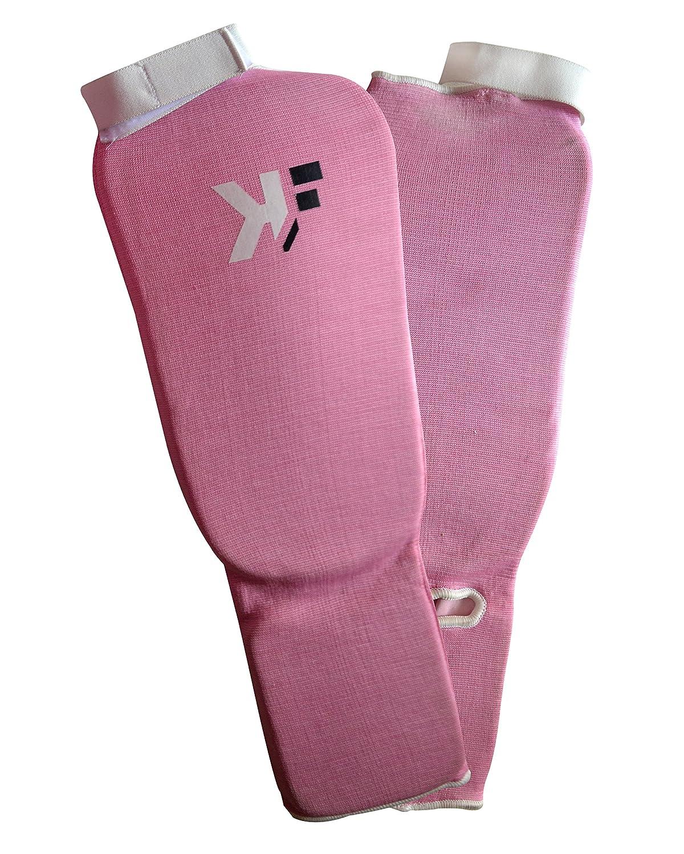 KIKFIT Ladies Shin Instep Guards MMA Leg Pads Protective Gear Muay Thai Boxing Training Kickboxing Martial Arts Pink