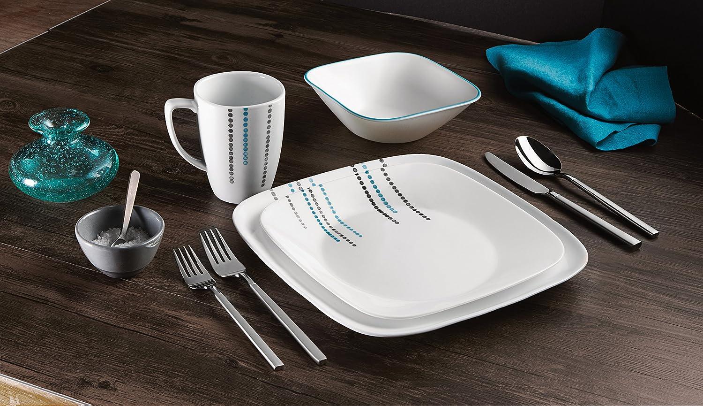 Service for 4 Corelle Square Round 16-Piece Dinnerware Set Happy Days