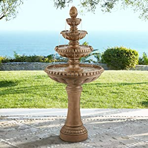 "John Timberland Sag Harbor Italian Outdoor Floor Water Fountain with Light LED 66"" High 4 Tiered for Yard Garden Patio Deck Home"