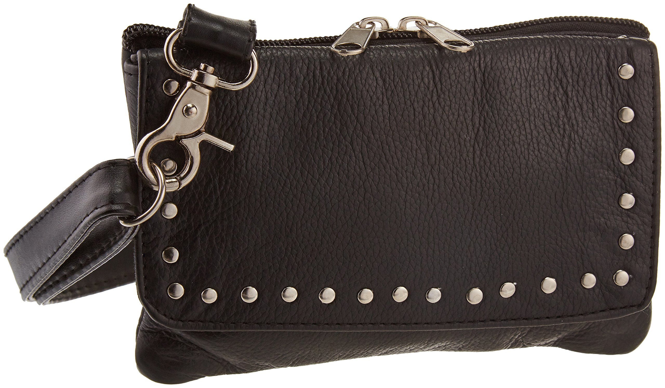 Hot Leathers CPS1011 BLACK, 8X5X1 Black 8 x 5 x 1 Ladies Magnetic Clip Pouch with Studs