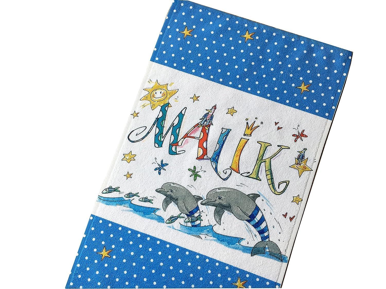 Kleines Handtuch mit Namen, Delphin, Rosirosinchen, Spucktuch, Gästetuch 30 x 50 cm Gästetuch 30 x 50 cm