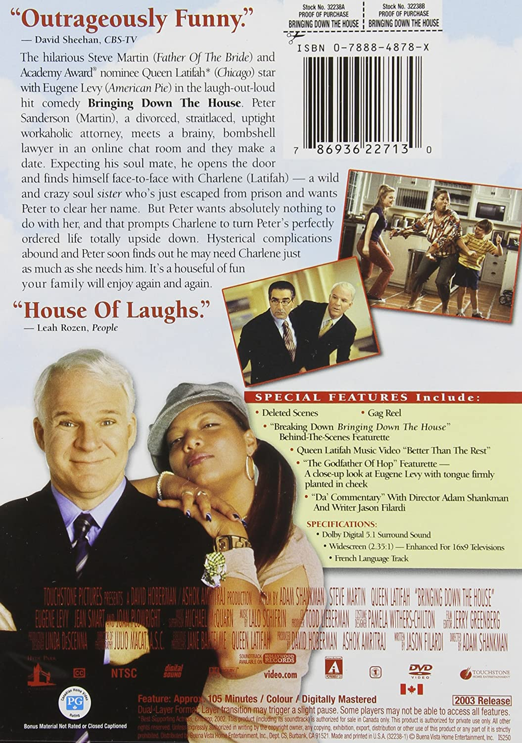 Amazon.com: Bringing Down The House (Widescreen Edition): Steve Martin,  Queen Latifah, Eugene Levy, Joan Plowright, Jean Smart, Kimberly J. Brown,  ...