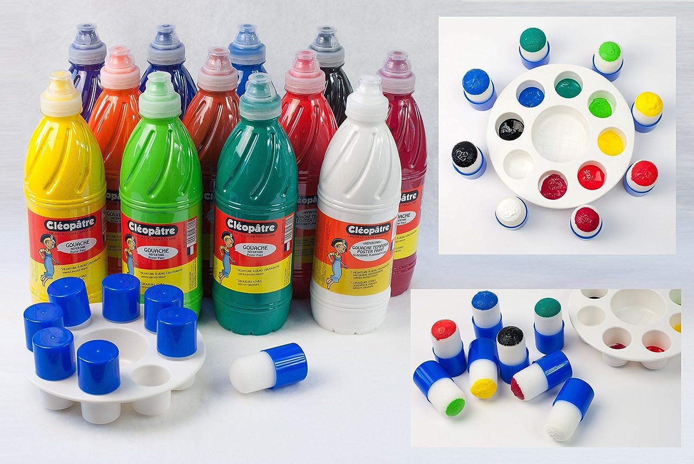 Cleopatre - PGBB-1X12+LOT - Pack de 12 frascos de pintura guache, contiene paleta de pintor y 8 pinceles de stencil: Amazon.es: Oficina y papelería