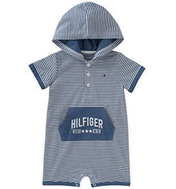b9c1a945 Tommy Hilfiger Baby Boys Romper, Denim Heather, 0-3 Months