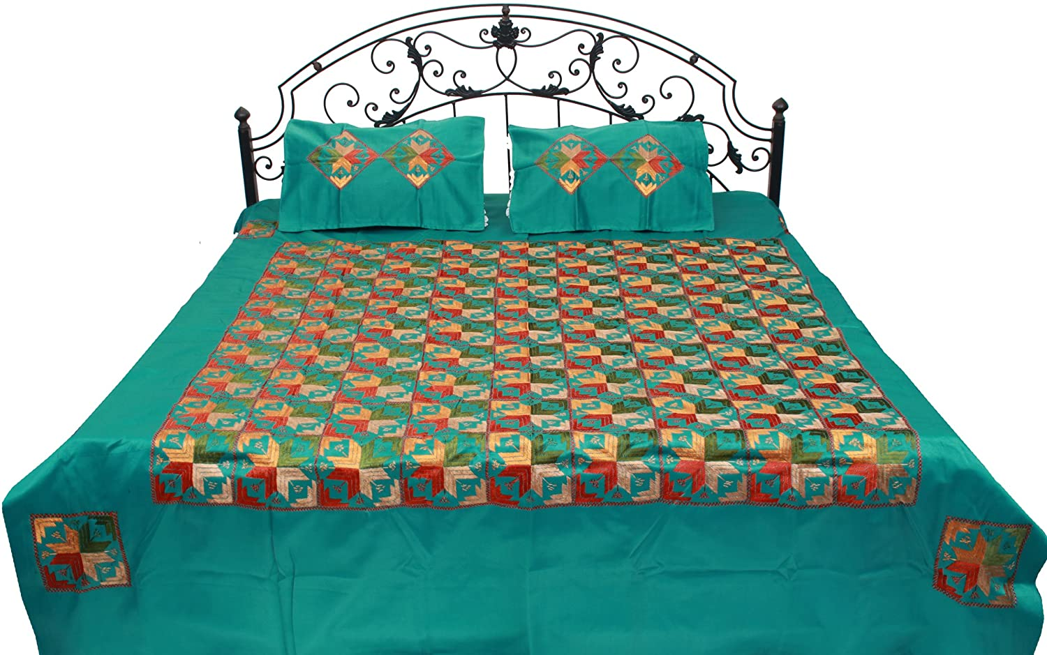 Exotic India Phulkari Embroidered Bedspread from Punjab - Cotton with  Pillow Covers - Color Cadmium Green Color: Amazon.in: Clothing & Accessories
