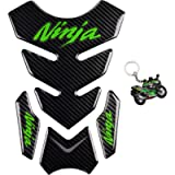 REVSOSTAR 5D Real Carbon Fiber, Motorcycle Decal Vinyl Tank Protector, Tank Pad with Keychain for Ninja 650 ZX636 ZX600…