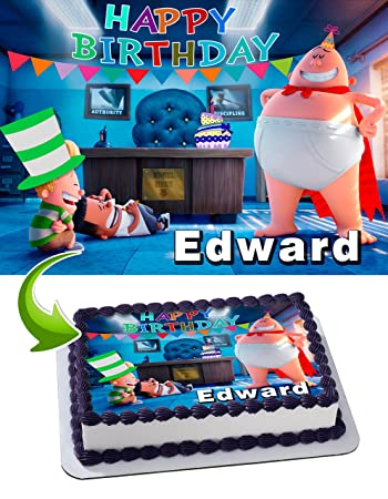 Captain Underpants Birthday Cake Personalized Cake Toppers Edible ...