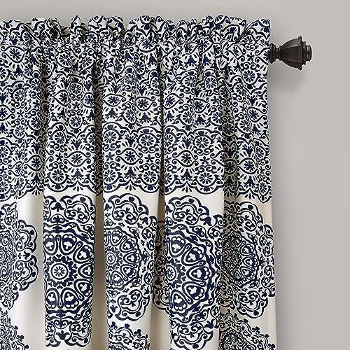 Lush Decor Stripe Medallion Curtains Fabric Mandala Bohemian Damask Print Room Darkening Window Panel Set
