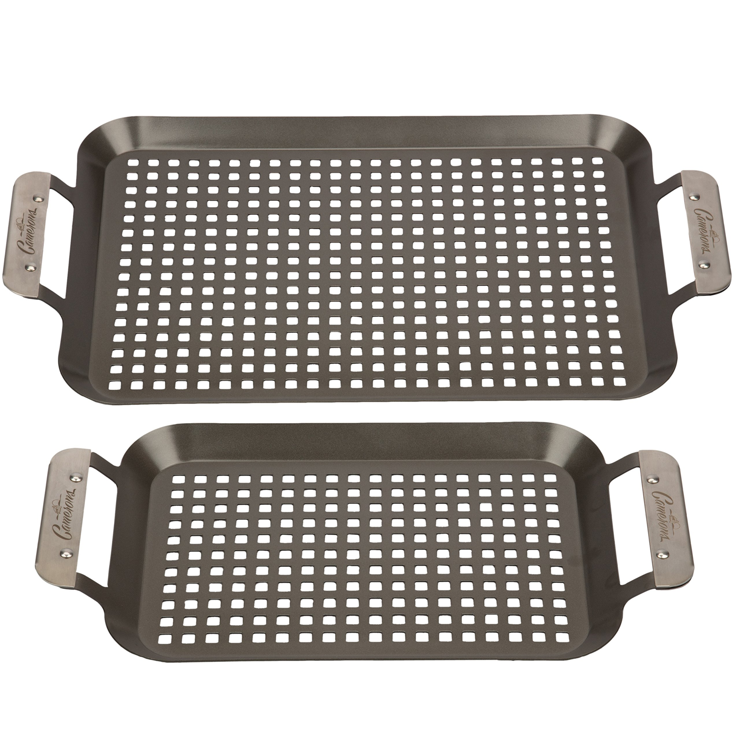 Grill Topper BBQ Grilling Pans (Set of 2) - Non-Stick Barbecue Trays w Stainless Steel Handles for Meat, Vegetables, and Seafood by Camerons Products