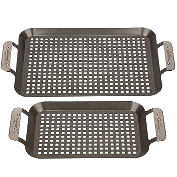 Camerons Products Parrilla barbacoa de Topper ollas (juego de 2) bandejas barbacoa Pan w