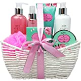 Spa Gift Basket and Bath Set with Rose Garden Fragrance by Lovestee-Bath Gift Basket Includes, Body Lotion, Bubble Bath, Body Scrub, Bath Puff, Bath Salt and a Body Butter-Christmas Gifts
