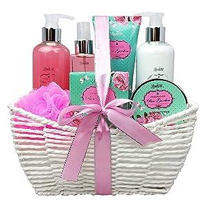Spa Gift Basket - Bath and Body Works Set with Rose Garden Scent For Women - Spa Bath Kit & Bath Gift Basket Birthday Gift includes Body Lotion, Bubble Bath, Body Scrub, Bath Puff, Bath Salt & Butter