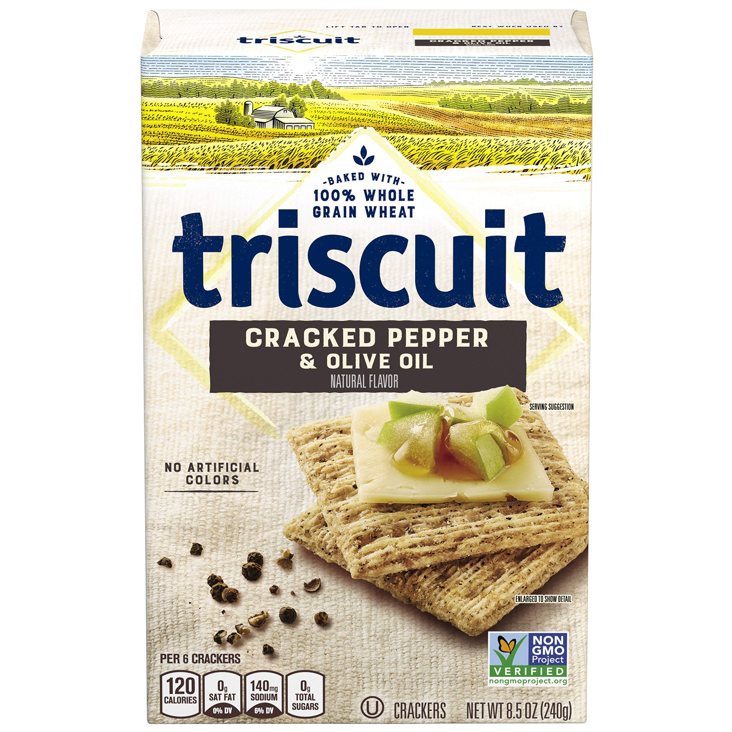 Triscuit Cracked Pepper and Olive Oil Crackers, Non-GMO, 8.5 Ounce (Pack of 6)