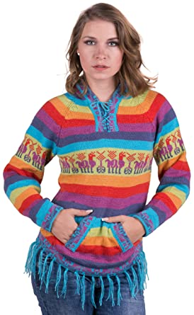 7f6d8a4e3 Amazon.com  Gamboa - Alpaca Hooded Sweater - Rainbow Striped Design ...
